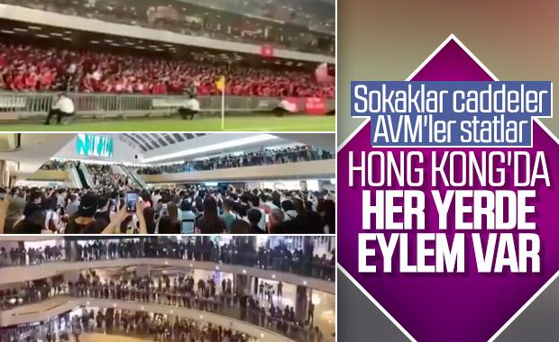 Hong Kong'daki protestolar AVM ve stadyuma sıçradı