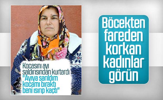 Erzurum'da bir kadın kocasını ayı saldırısından kurtardı