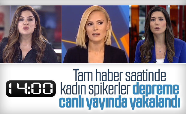Kadın spikerler deprem anında canlı yayındaydı