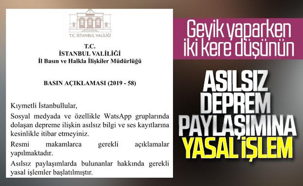İstanbul Valiliği'nden asılsız bilgi uyarısı