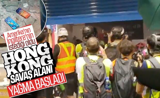 Hong Kong'ta telekomünikasyon mağazasını yağmaladılar