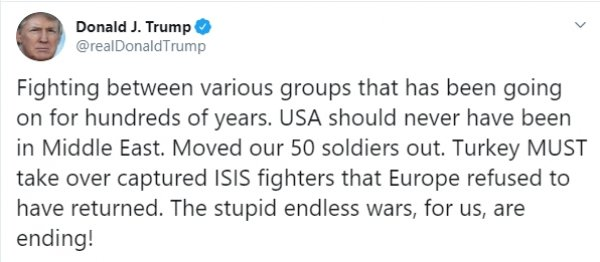 Donald Trump, yine Suriye'yle ilgili tweet attı