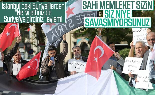 İstanbul'daki Suriyelilerden harekata destek mesajı
