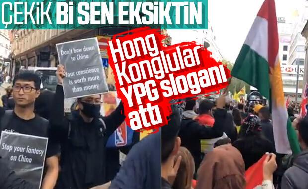 Hong Kong eylemcilerinden YPG'ye destek