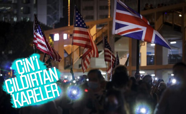 Hong Kong'ta ışıklı protesto