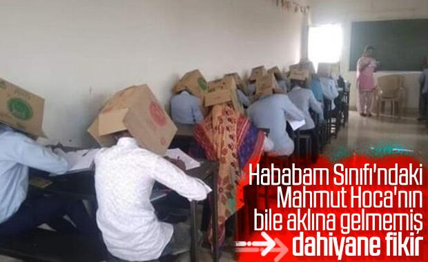 Hindistan'da bir okul kopyaya karton kutuyla önlem aldı
