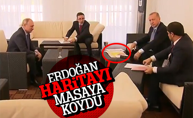 Erdoğan Putin'e güvenli bölge haritasını gösterdi