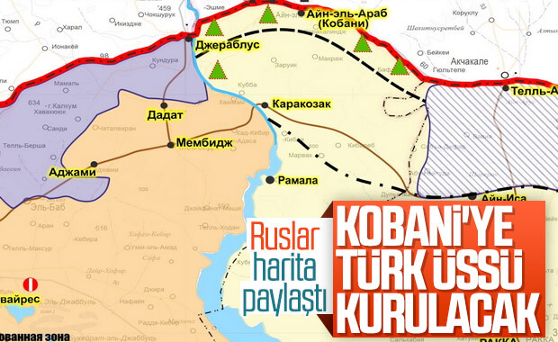 Rusya haritayı paylaştı: Kobani'de Türk üssü