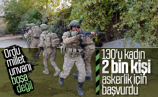 130'u kadın 2 bin 330 kişi gönüllü askerlik için başvurdu