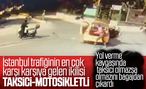 Beylikdüzü'nde taksici ile motosikletlinin kavgası