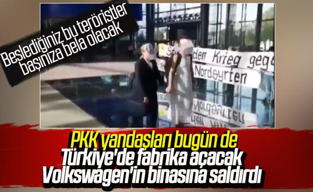 PKK yandaşlarından Volkswagen binasına saldırı
