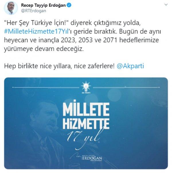 Cumhurbaşkanı Erdoğan'dan 3 Kasım paylaşımı
