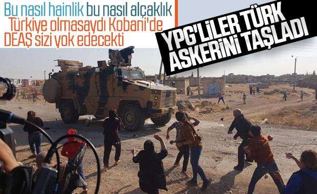 Kobani'de YPG'liler Türk askerini taşladı