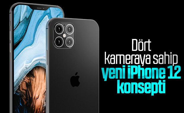 Yeni yayınlanan 4 kameralı iPhone 12 konsepti