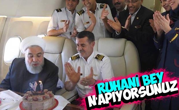 Ruhani'ye havada doğum günü sürprizi