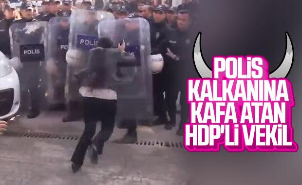 HDP'li millevekili polis kalkanına koşarak kafa attı