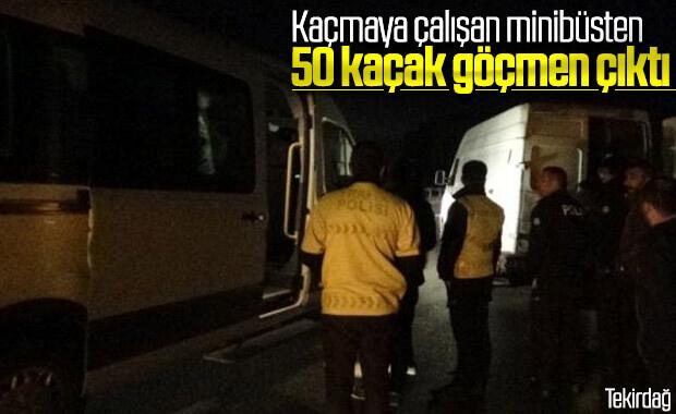 Tekirdağ'da minibüsten 50 kaçak göçmen çıktı