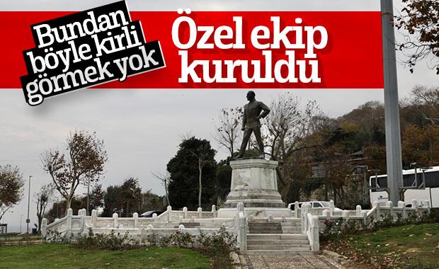 Sarayburnu'ndaki Atatürk heykeli hep temiz kalacak