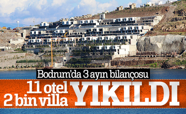 Bodrum'da 3 ayda 11 otel, 2 bin villa yıkıldı