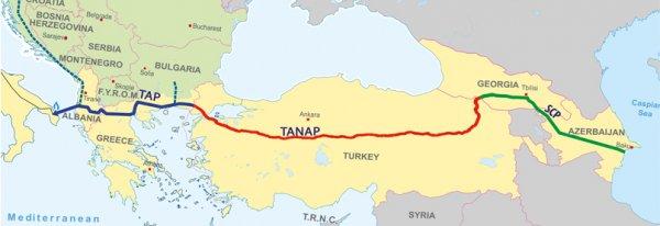 Türkiye'nin Türk Akım ve TANAP doğalgaz haritası