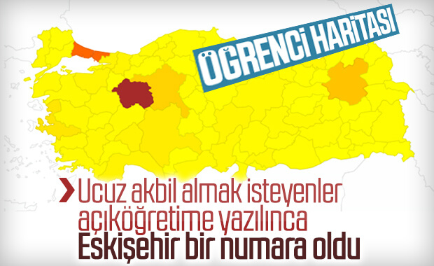 Türkiye'de üniversitelere kayıtlı öğrenci sayısı