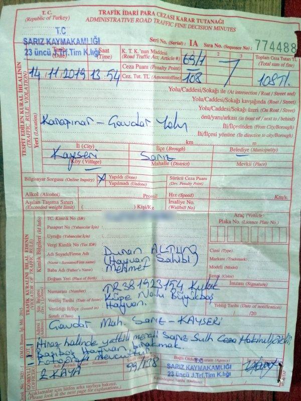 Kayserili adamın ineğine 108 lira ceza kesildi