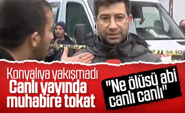 Konya'da canlı yayın yapan DHA muhabirine saldırı