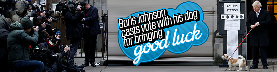 Boris Johnson brings his dog to vote