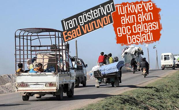 İdlib'de siviller Türkiye'ye göç ediyor