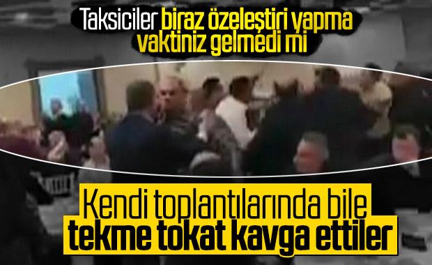 İstanbul'daki taksicilerin yumruklu kavgası