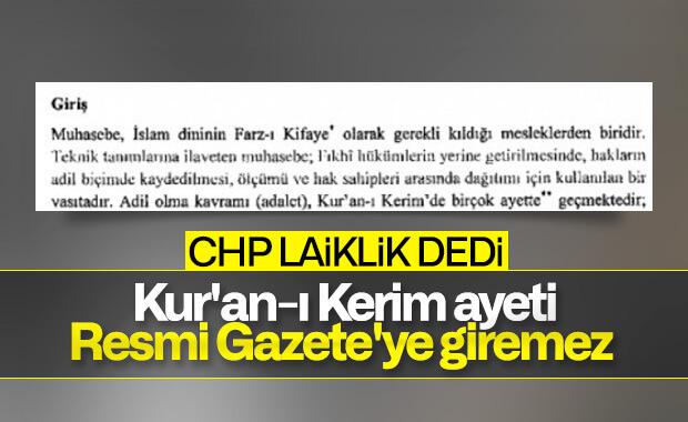 Ayetlerin Resmi Gazete'de yer alması CHP'yi kızdırdı