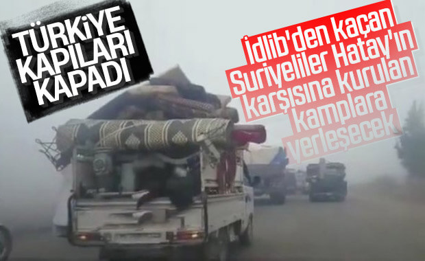 İdlib'den göç eden Suriyeliler Türkiye'ye alınmayacak