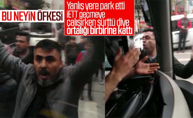 Sürttü diye yolcu dolu İETT otobüsüne saldırdılar