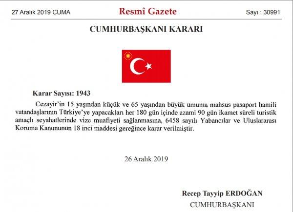 Türkiye'den Cezayir'e yeni vize uygulaması