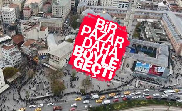 Eminönü'nde soğuğa rağmen bilet kuyruğu
