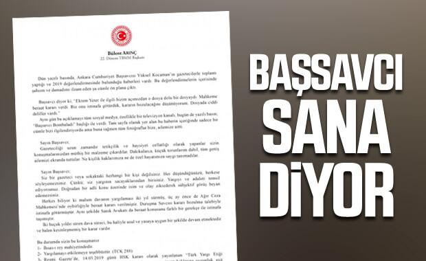 Bülent Arınç, Başsavcı Kocaman'ın yaptığı açıklamayı eleştirdi