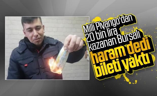 Haram diye 20 bin lira çıkan Milli Piyango biletini yaktı