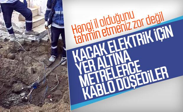 Cizre'de kaçak elektrik için yer altından hat çektiler