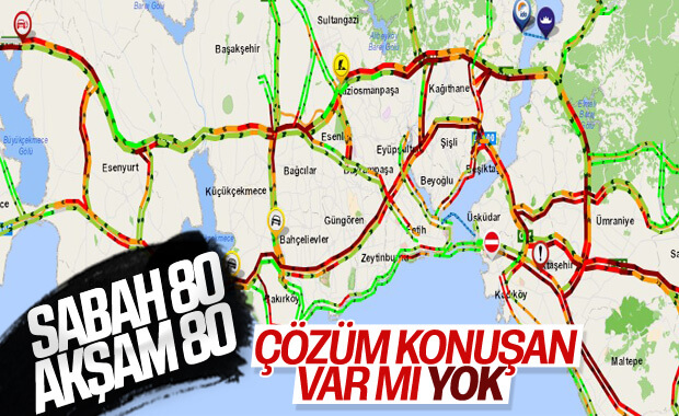 İstanbul'da sabah - akşam yollar kilit