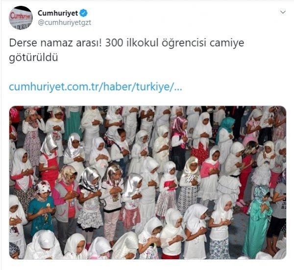 Cumhuriyet'ten 'namaz kılan öğrenciler' haberi