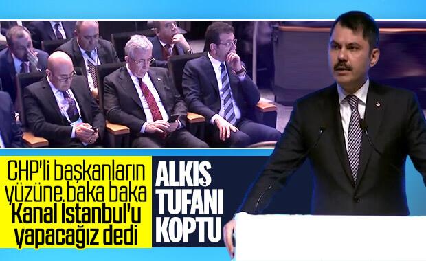 Bakan Kurum, İmamoğlu'na bakarak 'Kanal İstanbul' dedi