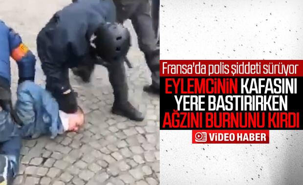 Fransız polisinden göstericiye orantısız güç ile müdahale