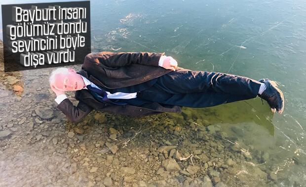 Bayburt'ta donan gölün keyfini çıkardılar