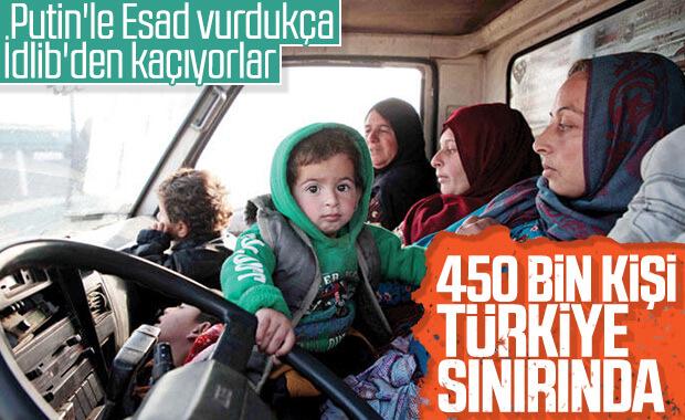 İdlib'den Türkiye sınırına göç sayısı 450 bine ulaştı