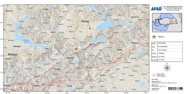 Elazığ'da 5.1 şiddetinde artçı sarsıntı meydana geldi