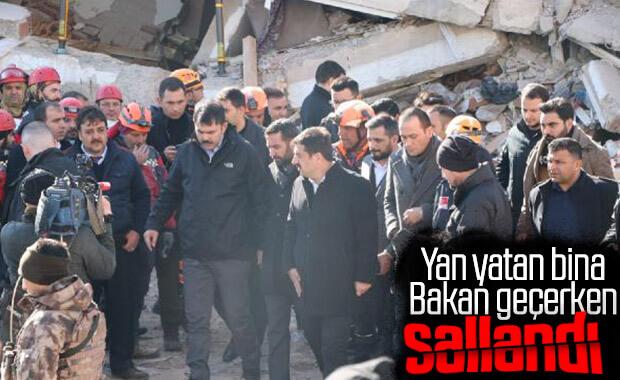 Bakan Kurum'un inceleme yaptığı bina sallandı