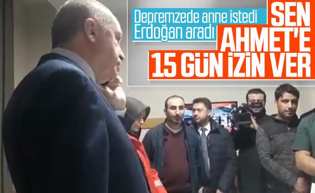 Erdoğan'dan depremzede anneye destek