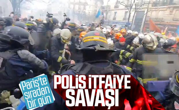 Paris'te itfaiye ile polisin çatışması