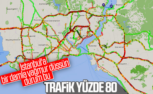 İstanbul'da yağmur sonrası trafik kilitlendi