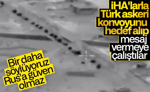 Ruslar İdlib'e giden Türk konvoyunu izliyor